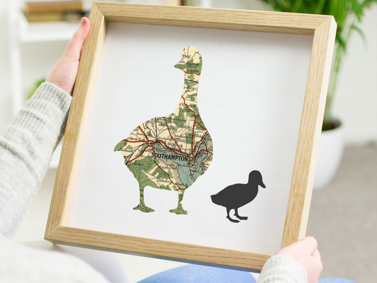 Atlas & I Duck Print with Oak Frame