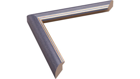 22mm Wide, Blue (with 2 Gold Lines On Inner Edge) Wood Stain Frame (MLDA350)