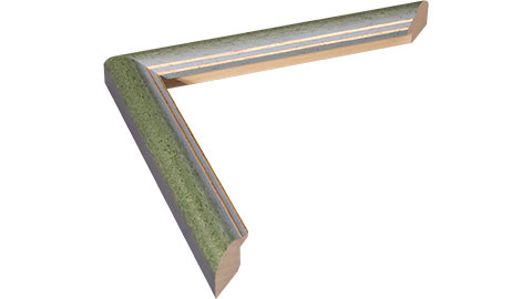 22mm Wide, Green (with Gold And Blue Lines On Inner Edge) Wood Stain Frame, 30x48