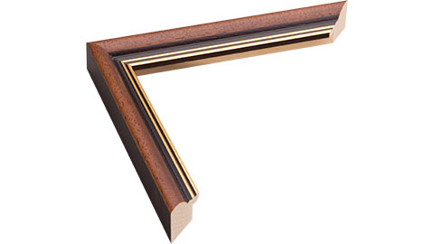 24mm Wide, Walnut (with 2 Gold Lines On The Inner Edge) Wood Stain Frame, 10x10