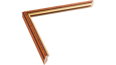 15mm Wide, Rich Teak/distressed(with A Gold Inner Edge) Wood Stain Frame, 10x10
