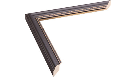 21mm Wide, Matt Black (with 2 Gold Lines On Inner Edge) Wood Paint Frame, A1 (MLDA356)