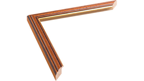 20mm Wide, Teak (With A Gold Inner Edge) Wood Stain Frame, 10x10