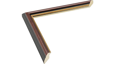 22mm Wide, Antique Walnut (with A Gold Inner Edge) Wood Stain Frame (MLDA287)