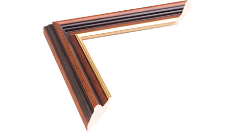 34mm Wide, Walnut (with A Gold Inner Edge) Wood Stain Frame, 30x40