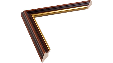 25mm Wide, Mahogany (With Gold Inner Edge) Wood Stain Frame (MLDA305)