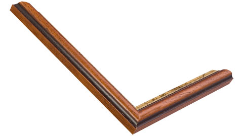 21mm Wide, Walnut (With A Distressed Gold Inner Edge) Wood Stain Frame