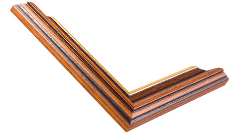 36mm Wide, Walnut (with A Gold Inner Edge) Wood Stain Frame