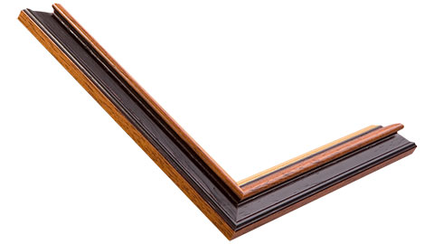 27mm Wide, Walnut (with A Gold Inner Edge) Wood Stain Frame