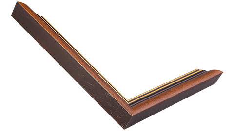 24mm Wide, Walnut (with 2 Gold Lines On The Inner Edge) Wood Stain Frame