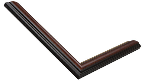 22mm Wide, Antique Walnut (with A Gold Inner Edge) Wood Stain Frame