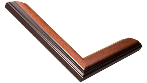 30mm Wide, Mahogany (With Gold Inner Edge) Wood Stain Frame