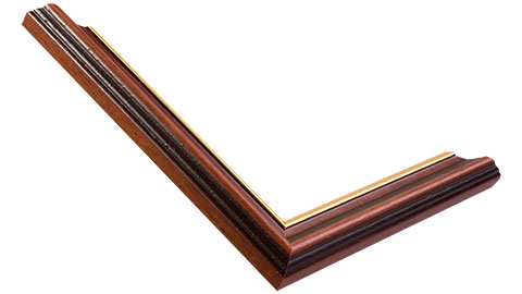 25mm Wide, Mahogany (With Gold Inner Edge) Wood Stain Frame