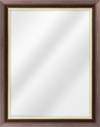 Framed Mirror made from a 35mm wide moulding, spoon shaped, and walnut (with a gold inner edge) in colour.