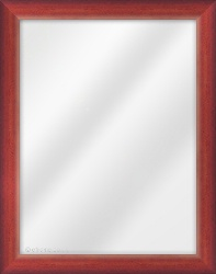 Framed Mirror made from a 34mm wide moulding, cushion shaped, and mahogany in colour.