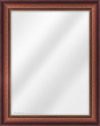Framed Mirror made from a 42mm wide moulding, reverse shaped, and walnut (with a gold inner edge) in colour.