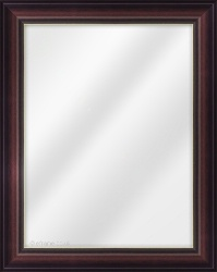 Framed Mirror made from a 44mm wide moulding, reverse shaped, and mahogany (with gold inner edge) in colour.