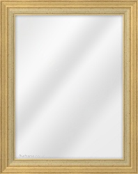 Framed Mirror made from a 42mm wide moulding, reverse shaped, and gold/ivory in colour.