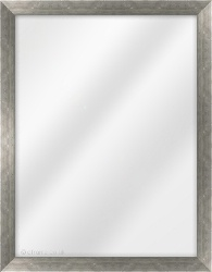 Framed Mirror made from a 25mm wide moulding, flat shaped, and pewter in colour.