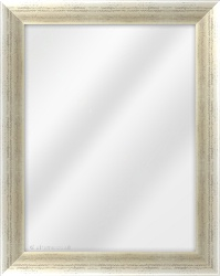 Framed Mirror made from a 43mm wide moulding, cushion shaped, and champagne silver. black inner & outer edge in colour.