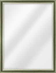 Framed Mirror made from a 22mm wide moulding, dome shaped, and green (with gold & blue lines on inner edge) in colour.