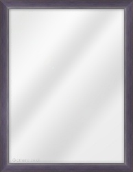 Framed Mirror made from a 23mm wide moulding, cushion shaped, and purple in colour.