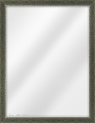 Framed Mirror made from a 23mm wide moulding, cushion shaped, and dark green in colour.