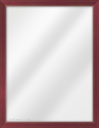 Framed Mirror made from a 22mm wide moulding, cushion shaped, and maroon in colour.
