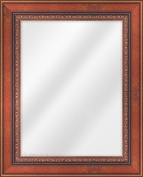 Framed Mirror made from a 60mm wide moulding, reverse shaped, and teak in colour.