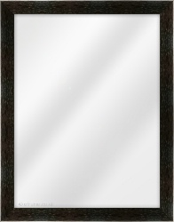 Framed Mirror made from a 29mm wide moulding, flat shaped, and black in colour.