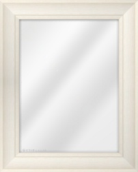 Framed Mirror made from a 59mm wide moulding, scoop shaped, and ivory in colour.