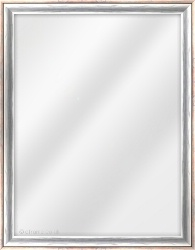 Framed Mirror made from a 25mm wide moulding, cushion shaped, and silver/black/red in colour.