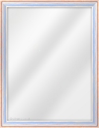 Framed Mirror made from a 25mm wide moulding, cushion shaped, and silver/blue/red in colour.