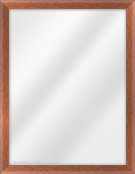 Framed Mirror made from a 23mm wide moulding, cushion shaped, and teak in colour.