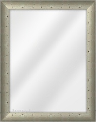 Framed Mirror made from a 37mm wide moulding, spoon shaped, and pewter in colour.