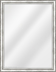 Framed Mirror made from a 23mm wide moulding, cushion shaped, and silver in colour.