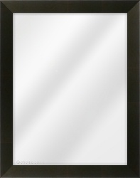 Framed Mirror made from a 34mm wide moulding, flat shaped, and black in colour.