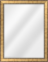 Framed Mirror made from a 30mm wide moulding, spoon shaped, and gold/pewter in colour.