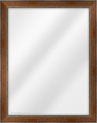 Framed Mirror made from a 30mm wide moulding, reverse shaped, and walnut/pewter in colour.