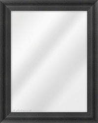Framed Mirror made from a 43mm wide moulding, scoop shaped, and black in colour.