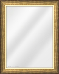 Framed Mirror made from a 40mm wide moulding, reverse shaped, and gold in colour.