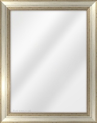 Framed Mirror made from a 40mm wide moulding, reverse shaped, and silver in colour.
