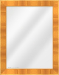 Framed Mirror made from a 40mm wide moulding, flat shaped, and gold in colour.