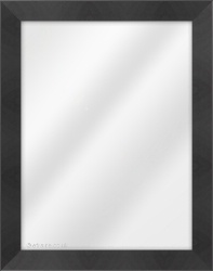 Framed Mirror made from a 37mm wide moulding, flat shaped, and black in colour.