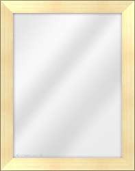 Framed Mirror made from a 36mm wide moulding, flat shaped, and light gold in colour.