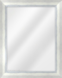 Framed Mirror made from a 40mm wide moulding, slope shaped, and silver/blue in colour.
