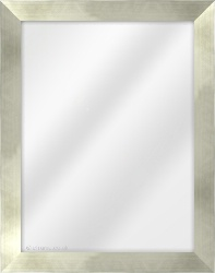 Framed Mirror made from a 36mm wide moulding, flat shaped, and champagne pale gold/black edge in colour.