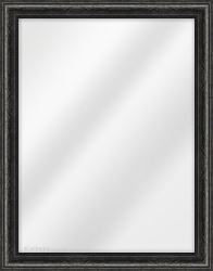 Framed Mirror made from a 31mm wide moulding, cushion shaped, and black in colour.