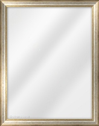 Framed Mirror made from a 25mm wide moulding, cushion shaped, and silver/gold in colour.