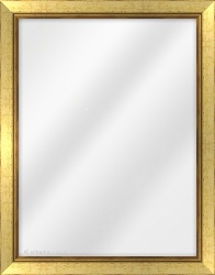 Framed Mirror made from a 31mm wide moulding, flat shaped, and gold in colour.